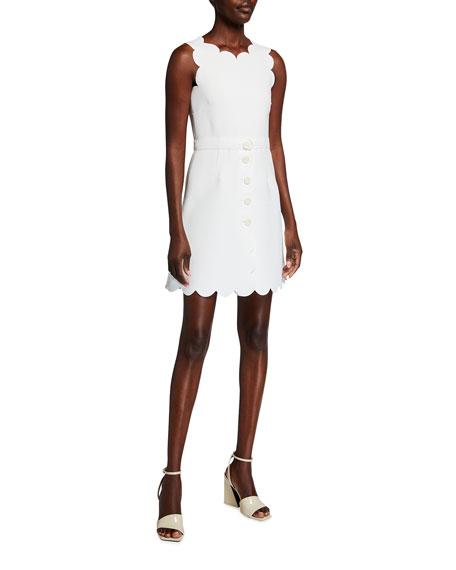 REDValentino Scalloped Edge Sleeveless Mini Dress