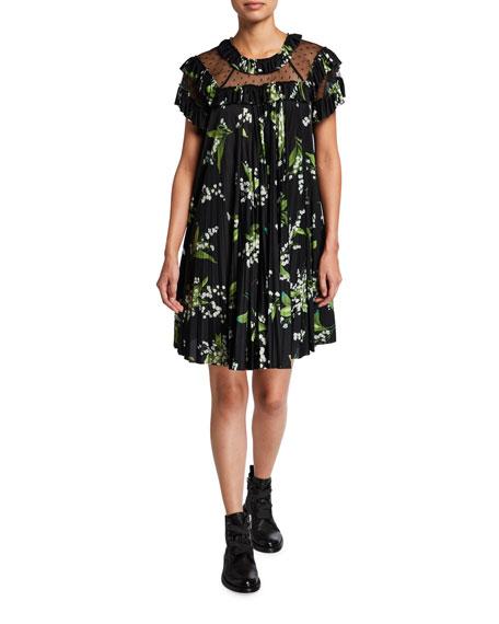 REDValentino Floral Print Dress with Point D'Esprit Insets