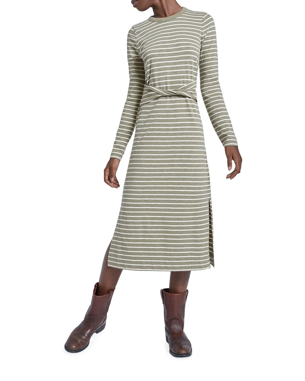 The Studio Striped Dress w/ Twisted Waistband