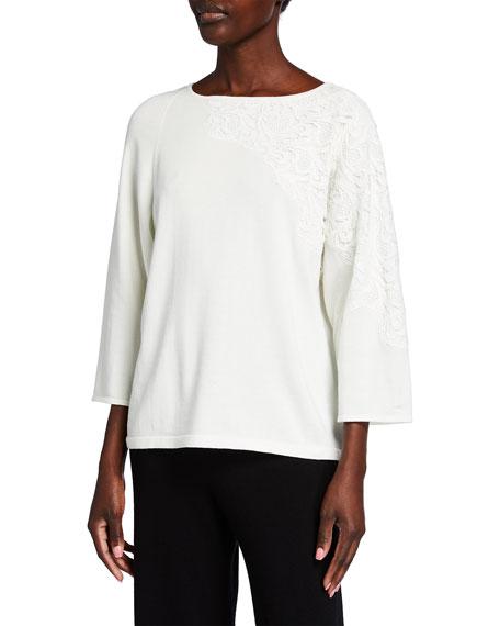 Joan Vass Plus Size Applique Lace Sweater