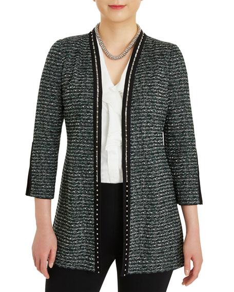 Misook Plus Size Metal Trim Tweed Knit Jacket