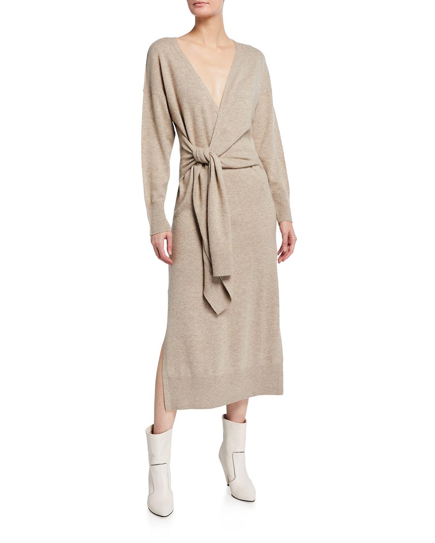 Jonathan Simkhai SKYLA LOUNGEWEAR FAUX-WRAP KNIT DRESS