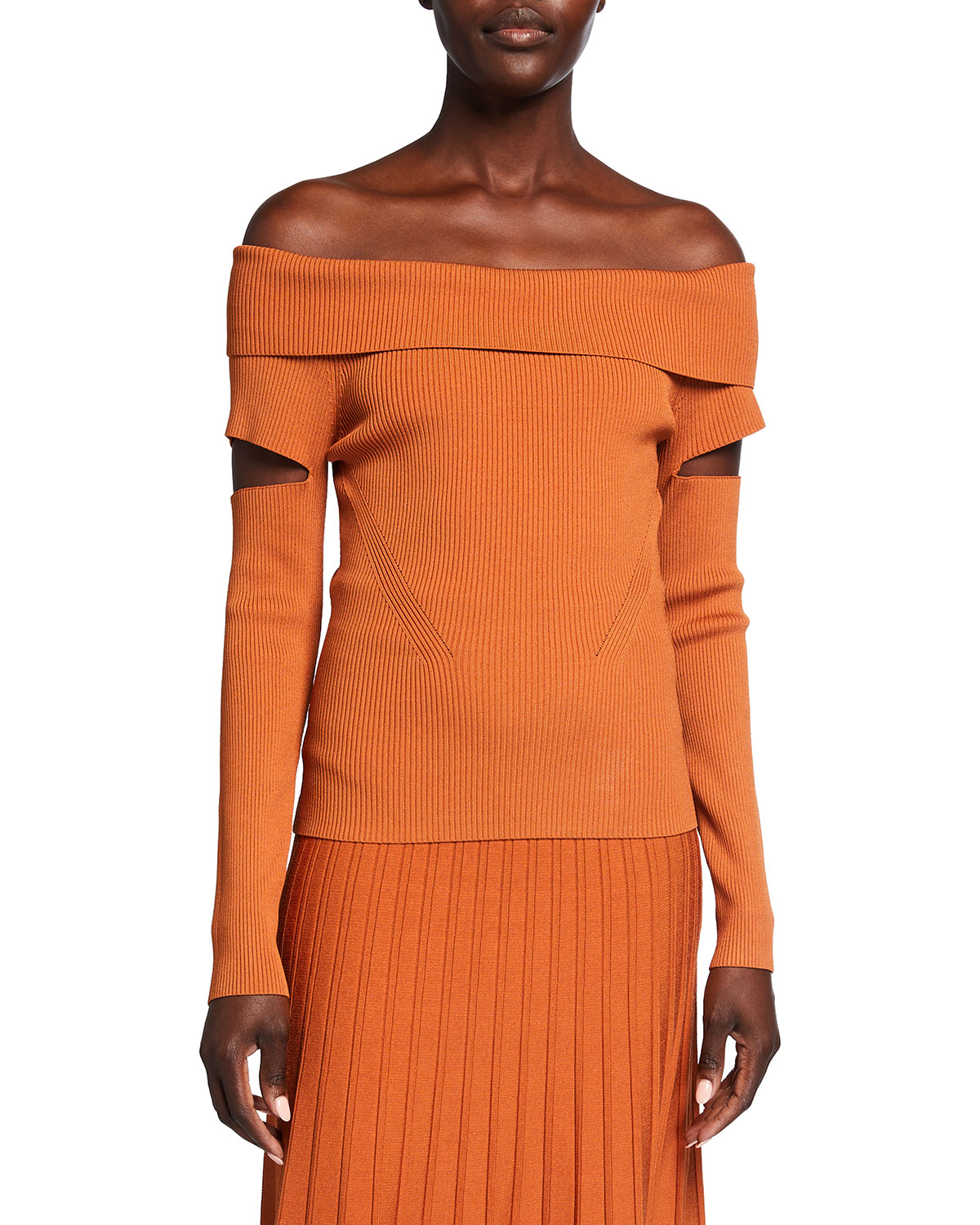 Zayla Compact Knit Off-the-Shoulder Top