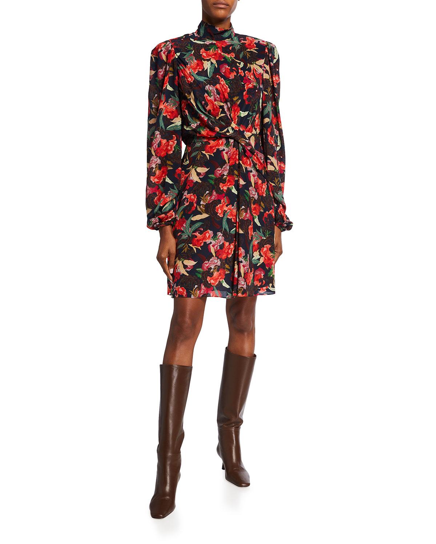 Saloni DEMI FLORAL HIGH-NECK COCKTAIL DRESS