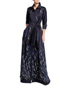 Bead Trim Embroidered Taffeta Shirtdress Gown