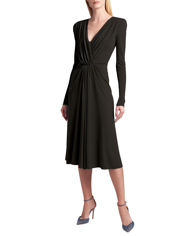 Giorgio Armani DRAPED LONG-SLEEVE JERSEY FAUX-WRAP DRESS