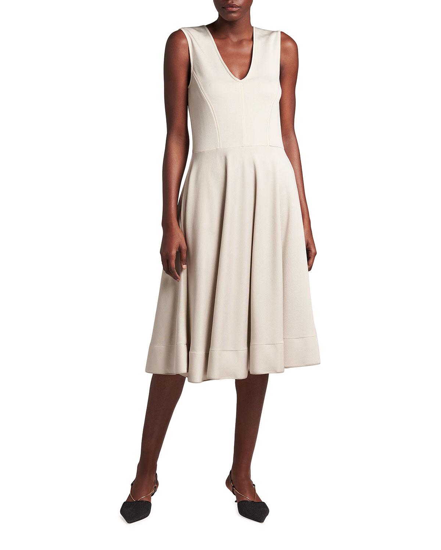 Giorgio Armani Mini dresses OTTOMAN-KNIT SLEEVELESS V-NECK DRESS