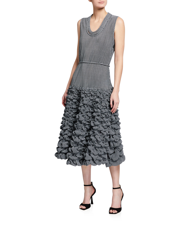 Giorgio Armani HOUNDSTOOTH PRINTED DROP-WAIST JERSEY LONG DRESS