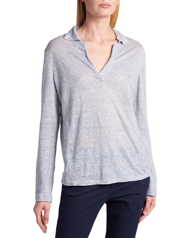Giorgio Armani Shirts LINEN JERSEY LONG-SLEEVE POLO SHIRT