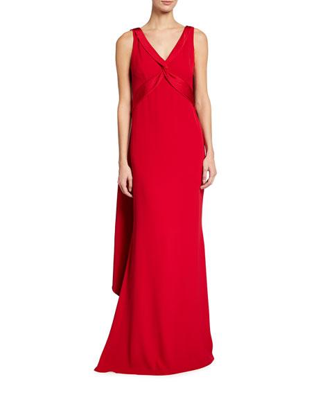 Marchesa Notte V-Neck Shoulder Drape Satin Back Crepe Gown