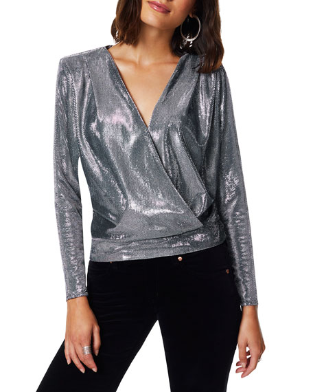 Ramy Brook Esther Chainmail Faux-Wrap Top