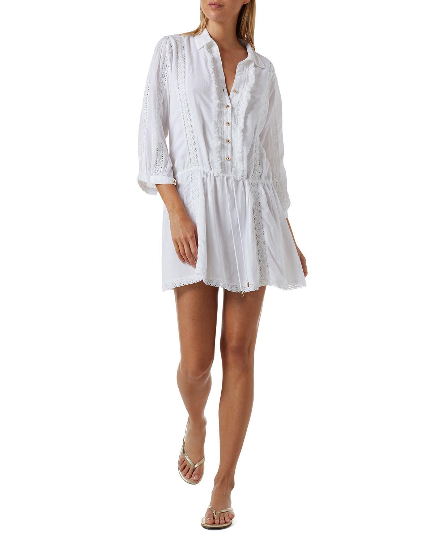 Scarlett Fringe-Trim Button-Up Coverup Mini Dress