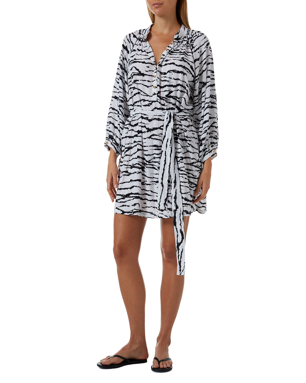 Amy Coverup Tiger Stripe Shirtdress