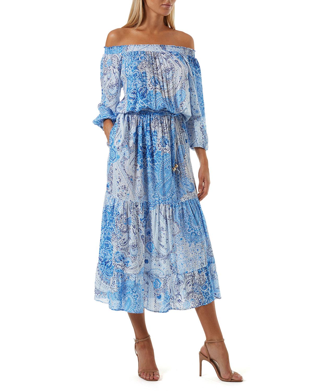 Condor Paisley-Print Off-the-Shoulder Midi Dress