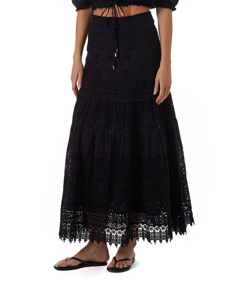 Melissa Odabash Alessia Tiered Eyelet Coverup Skirt