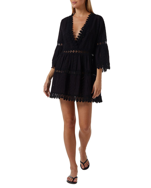 Victoria Embroidered V-Neck Short Dress