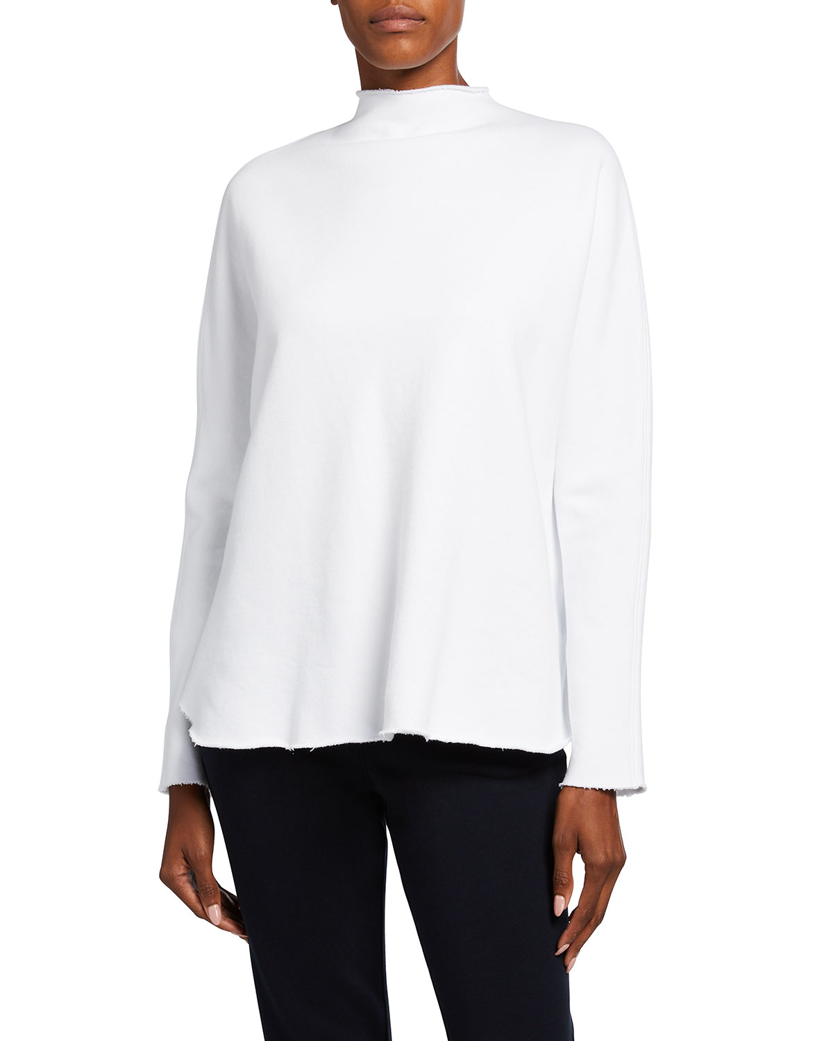 Long-Sleeve Funnel-Neck Capelet Top