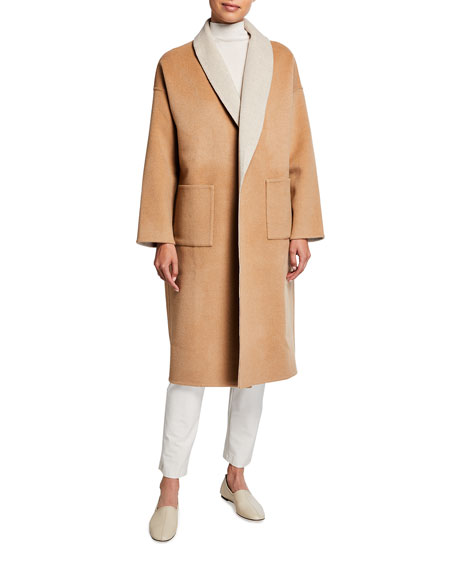 Eileen Fisher Petite Double-Face Wool-Cashmere Shawl Collar Coat