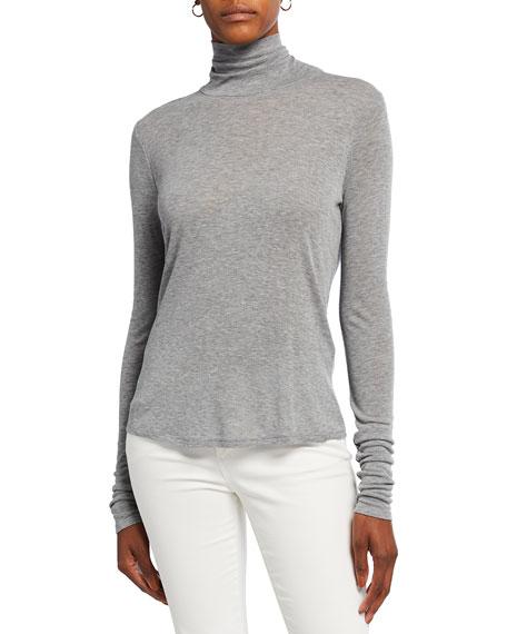 Eileen Fisher Scrunch-Neck Long-Sleeve Slim Top