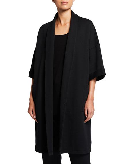 Eileen Fisher Plus Size High Collar Elbow-Sleeve Organic Cotton Twill Jacket