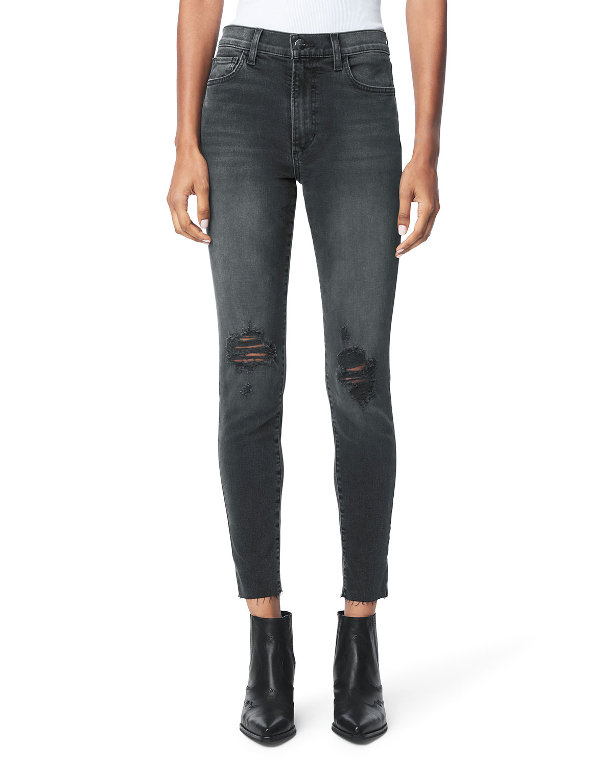 The Charlie Distressed Ankle Jeans w/ Raw Hem