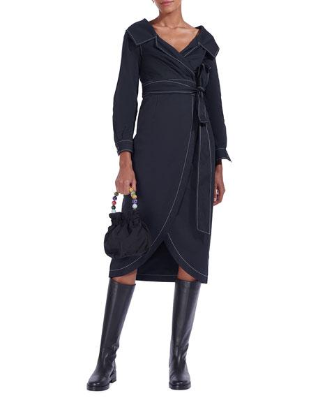 Staud Jacklyn Midi Wrap Dress