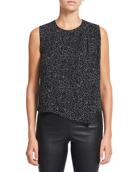 Theory Speckled Silk Draped Shoulder Top