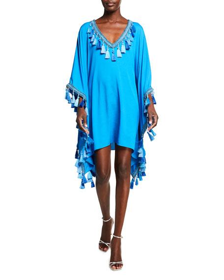 Badgley Mischka Collection V-Neck Tassel-Hem Caftan Dress