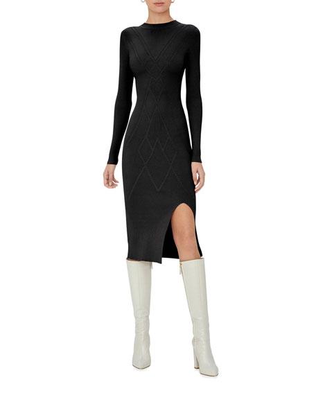 Alexis Emily Long-Sleeve Diamond-Knit Dress