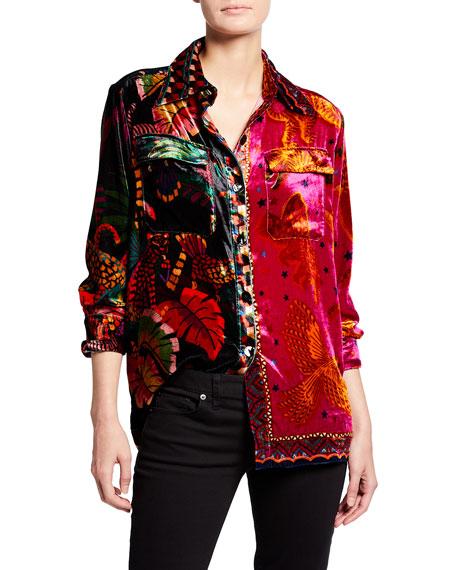 Farm Rio Mixed Scarves Button-Front Shirt