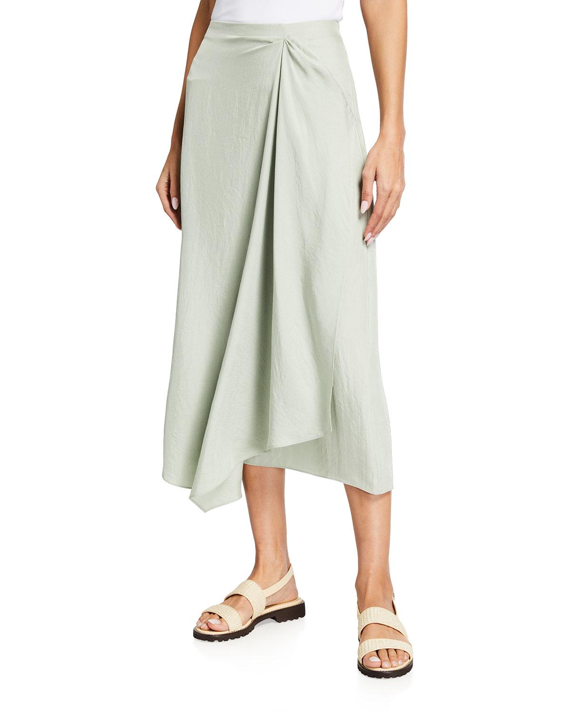 Handkerchief Draped Midi Skirt