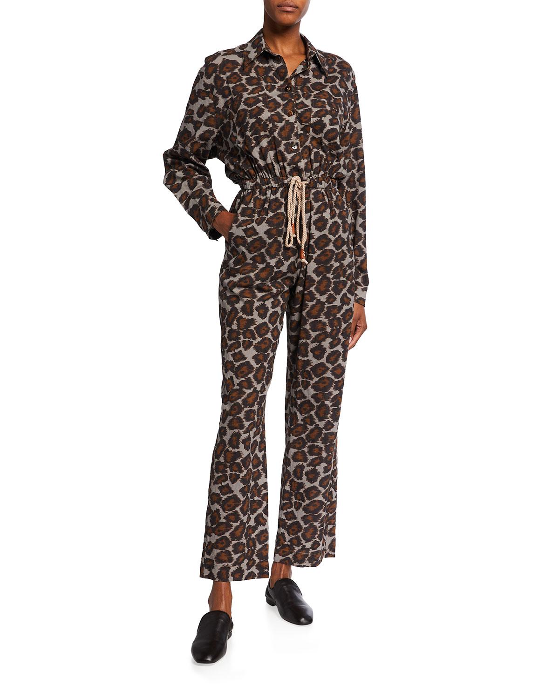 Odella Ocelot-Print Jumpsuit