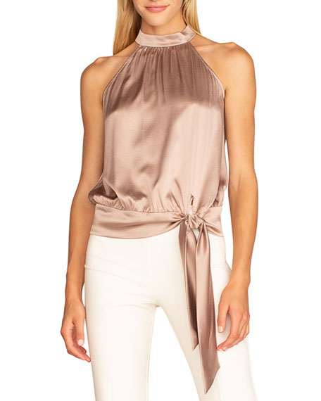 Trina Turk Champagne High-Neck Cocktail Top