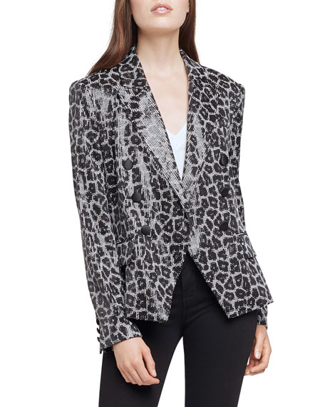 L'Agence Kenzie Double-Breasted Sequined Blazer