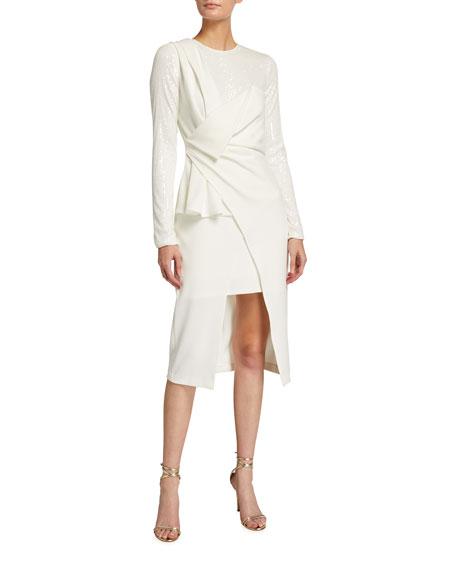 One33 Social Crepe & Sequin Drape-Front Combo Dress