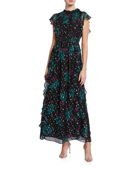 Shoshanna Triana Opaque Rose-Print Metallic Clip Dot Ruffle Gown