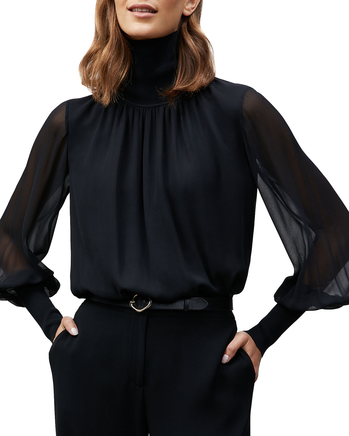 Lafayette 148 BERGITTE BLOUSE WITH KNIT COMBO