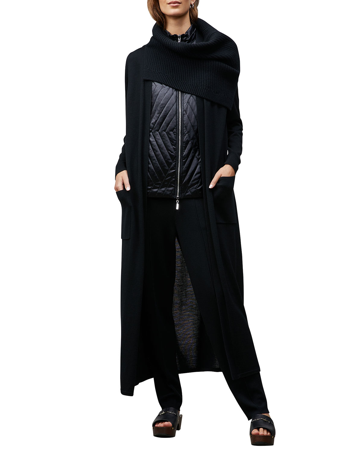 Lafayette 148 BELTED LONG CARDIGAN WITH POCKETS