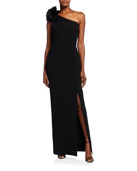 Marchesa Notte 3D Applique One-Shoulder Stretch Crepe Column Gown