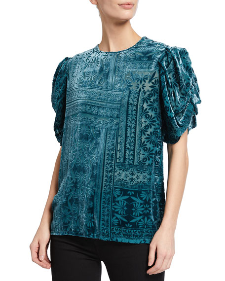 Johnny Was Amatan Ruched Velvet Burnout Top