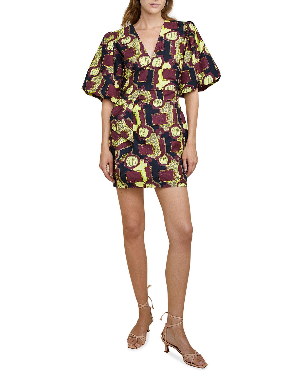Lily Puff-Sleeve Short Dress