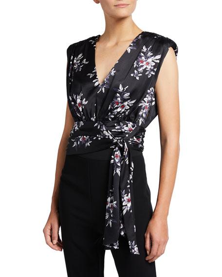 cinq a sept Brenna Floral Silk Wrap Top