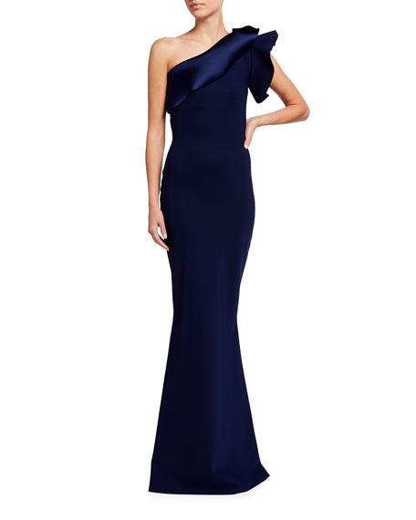 Chiara Boni La Petite Robe One-Shoulder Satin Trim Gown