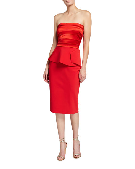 Chiara Boni La Petite Robe Strapless Satin-Bodice Peplum Cocktail Dress