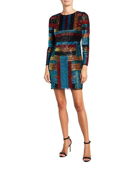 Aidan by Aidan Mattox Beaded Multi-Stripe Long-Sleeve Mini Sheath Dress