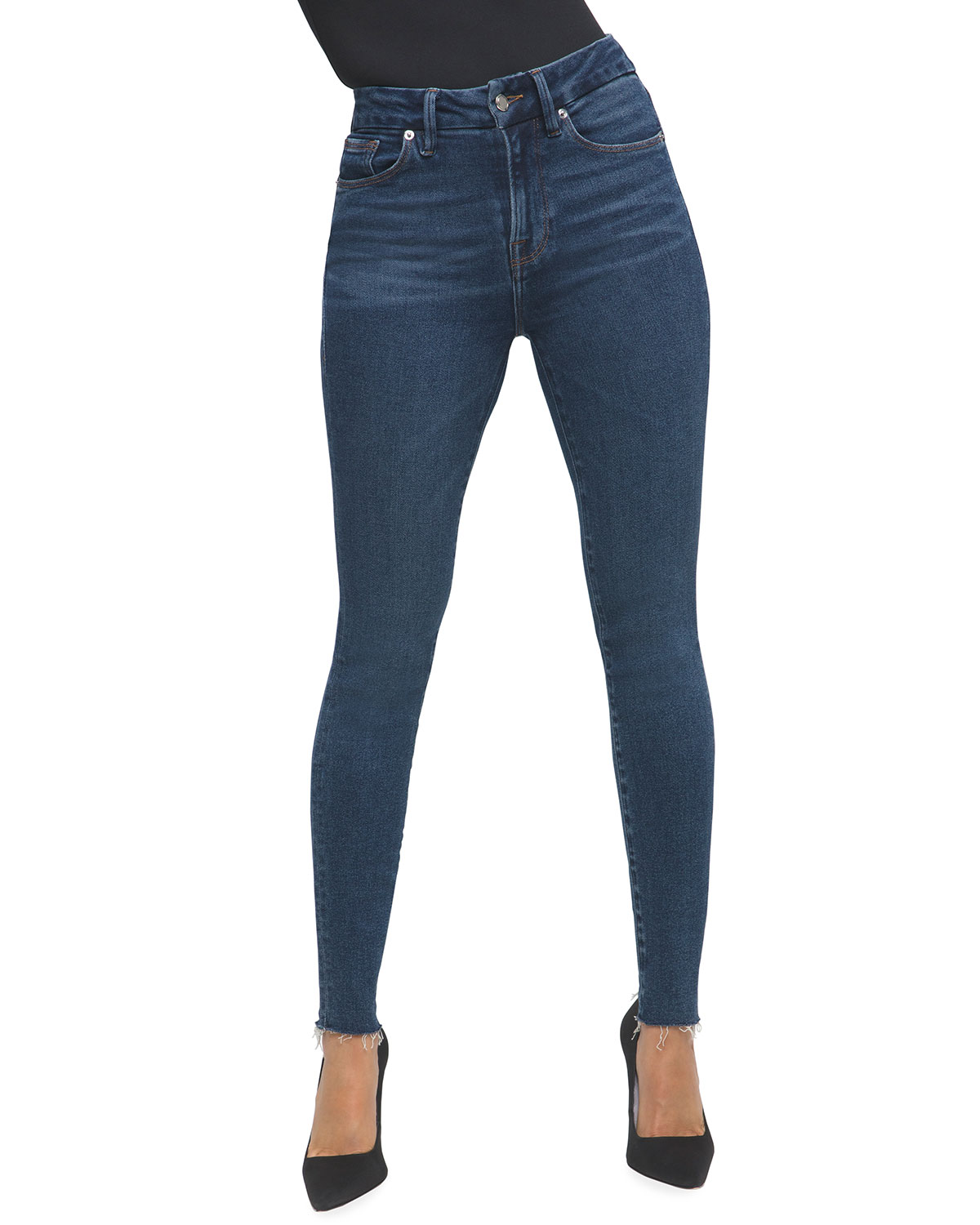 Good American GOOD LEGS RAW-EDGE SKINNY JEANS - INCLUSIVE SIZING