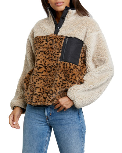 Saga Sherpa Animal-Print Pullover Jacket
