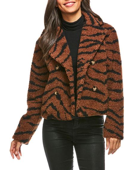Fabulous Furs Cropped Tiger Sherpa Jacket