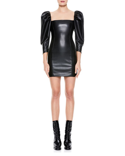 Frances Vegan Leather Puff-Sleeve Mini Dress