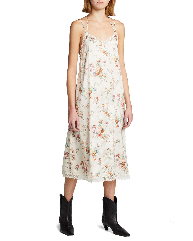 R13 LACE-UP FLORAL SLIP DRESS